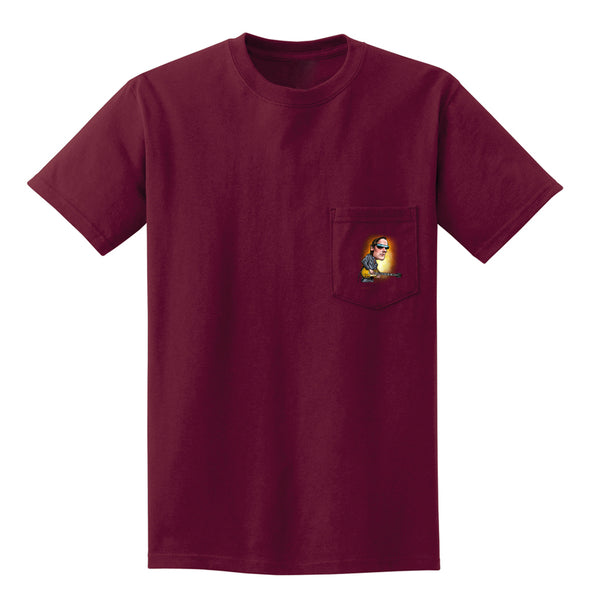 Joe Bonamassa & Skinnerburst Cartoon Pocket T-Shirt (Unisex) - Maroon