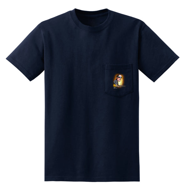 Joe Bonamassa & Skinnerburst Cartoon Pocket T-Shirt (Unisex) - Navy