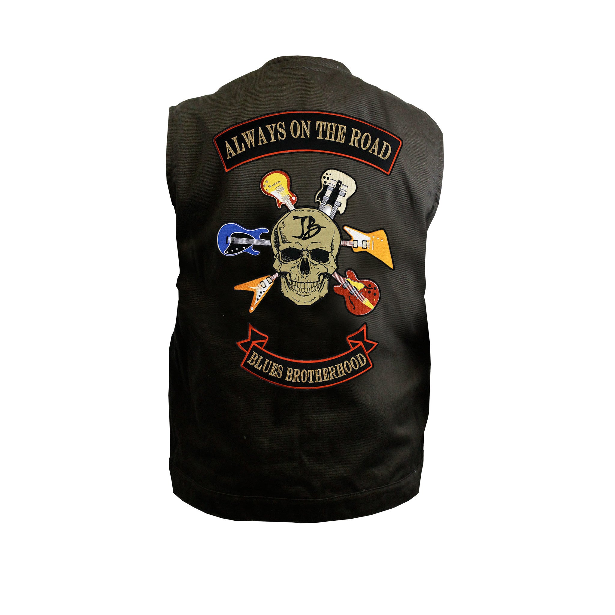Blues Brotherhood Back Patch - Black Denim Club Vest (Men)