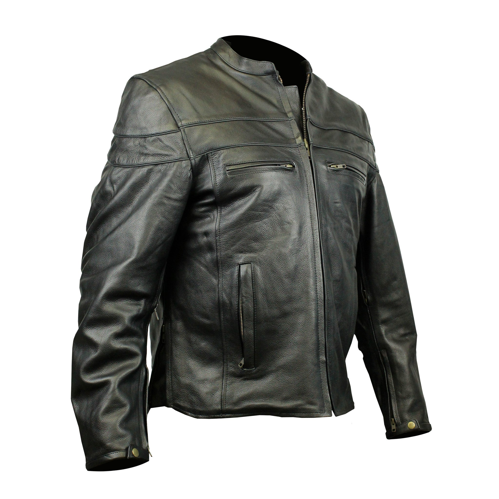Highway to Blues Back Patch - Racer Leather Jacket with Vents (Men)