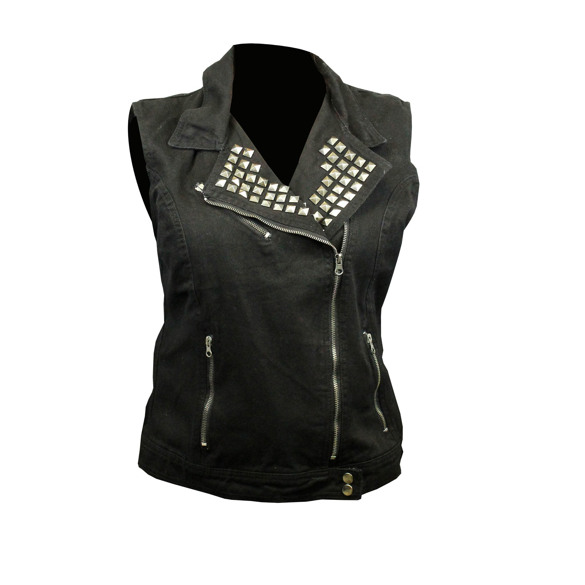 Black Denim Vest with Studded Collar (Women)