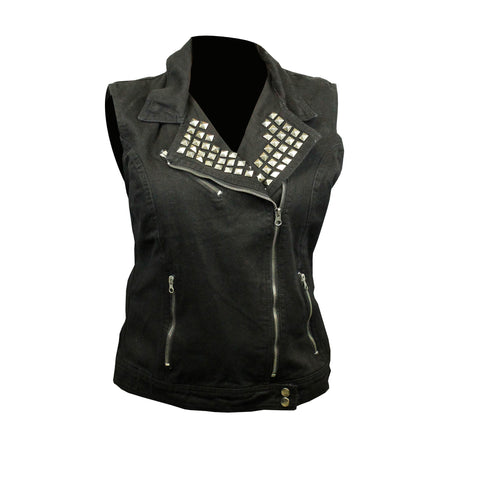 Highway to Blues Back Patch - Black Denim Vest with Studded Collar (Women)