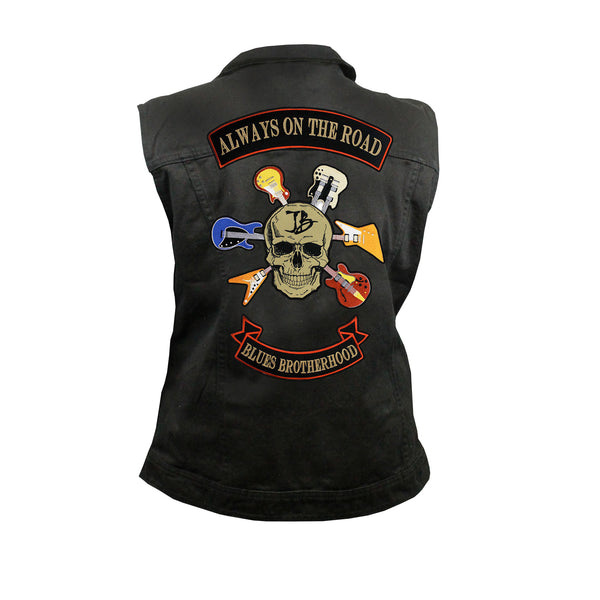 Blues Brotherhood Back Patch - Black Denim Vest with Studded Collar (Women)
