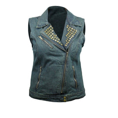 Blues Brotherhood Back Patch - Blue Denim Vest with Studded Collar (Women)