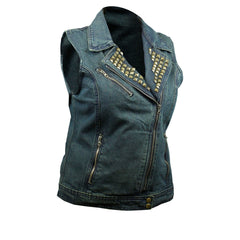 Blue Denim Vest with Studded Collar (Women)