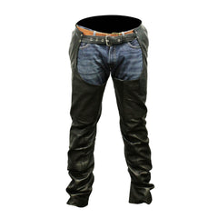 Top Grain 4 Pocket Leather Chaps with Removable Liner (Unisex)