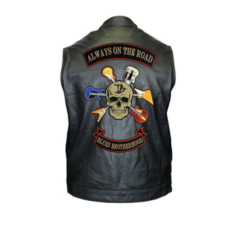 Blues Brotherhood Back Patch - Motorcycle Club Leather Vest (Men)
