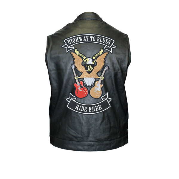 Highway to Blues Back Patch - Motorcycle Club Leather Vest (Men)