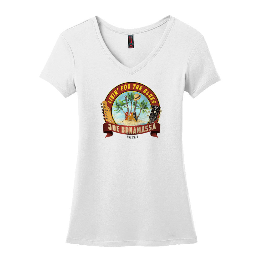 Livin' for the Blues V-Neck (Women) - White