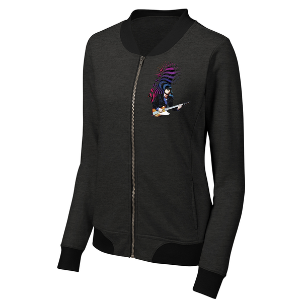Trippy Headstock Lightweight Bomber (Women) - Heather Black