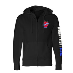 Monday Night Blues Zip-Up Hoodie (Unisex) - Black