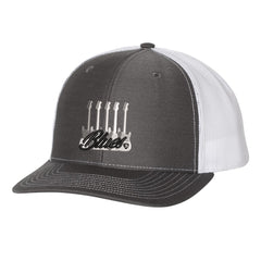 Monochromatic Blues Snapback Trucker Hat - Charcoal/White