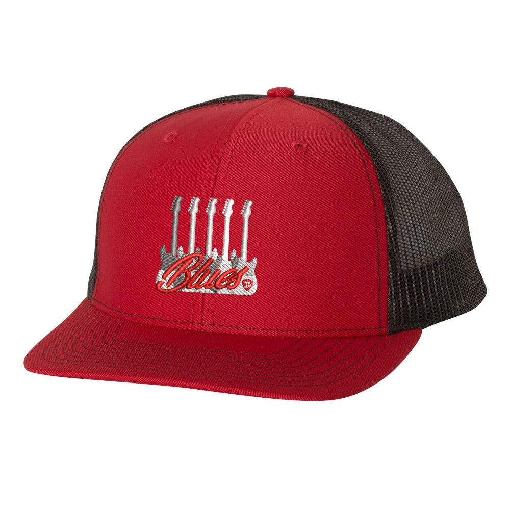 Monochromatic Blues Snapback Trucker Hat - Red/Black