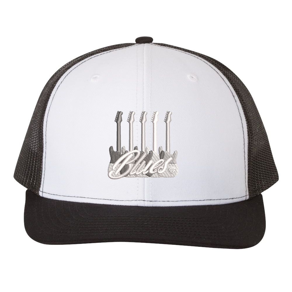 Monochromatic Blues Snapback Trucker Hat - White/Black