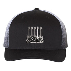 Monochromatic Blues Printed Mesh-Back Trucker Hat - Black Fade