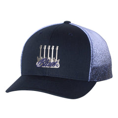 Monochromatic Blues Printed Mesh-Back Trucker Hat - Navy Fade