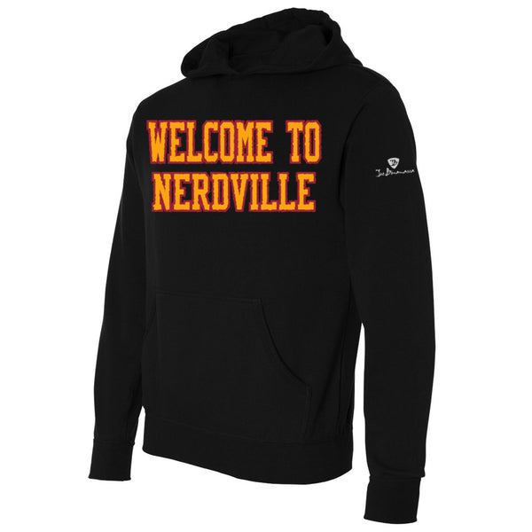 Welcome to Nerdville Applique Pullover Hoodie - Gold/Black (Unisex)