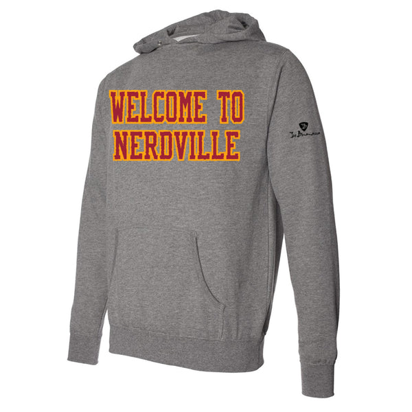 Welcome to Nerdville Applique Pullover Hoodie - Red/Heather (Unisex)