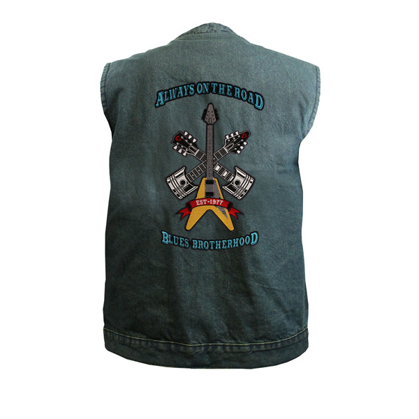 Always on the Road Back Patch - Blue Denim Club Vest (Men)