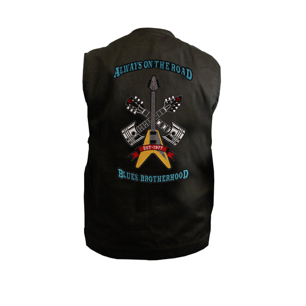 Always on the Road Back Patch - Black Denim Club Vest (Men)