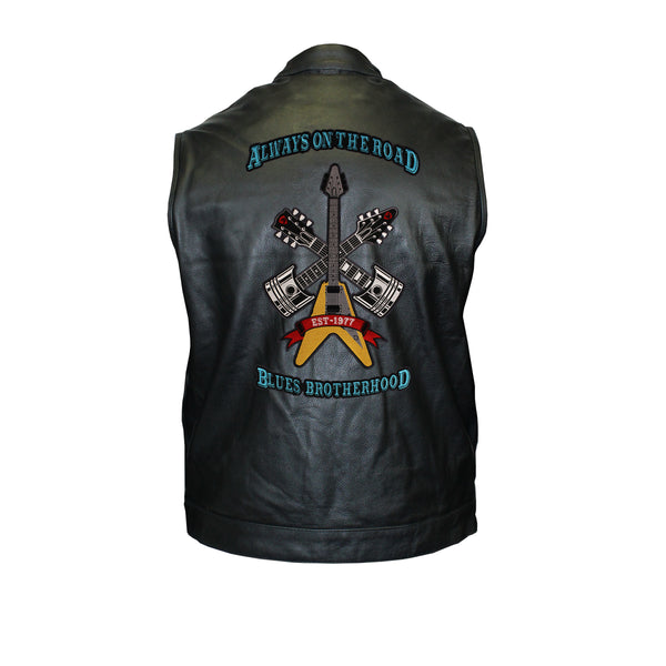 Always on the Road Back Patch - Motorcycle Club Leather Vest (Men)