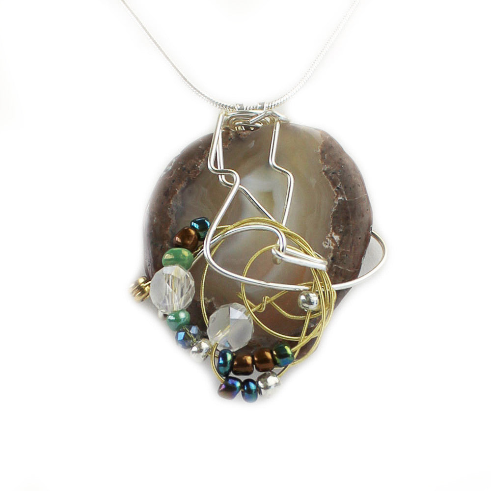Stone Agate & Guitar String Necklace - Round/Bronze