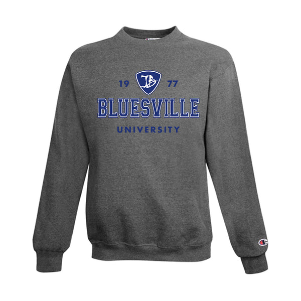 Bluesville University Logo Champion Sweatshirt (Men) - Charcoal Heather