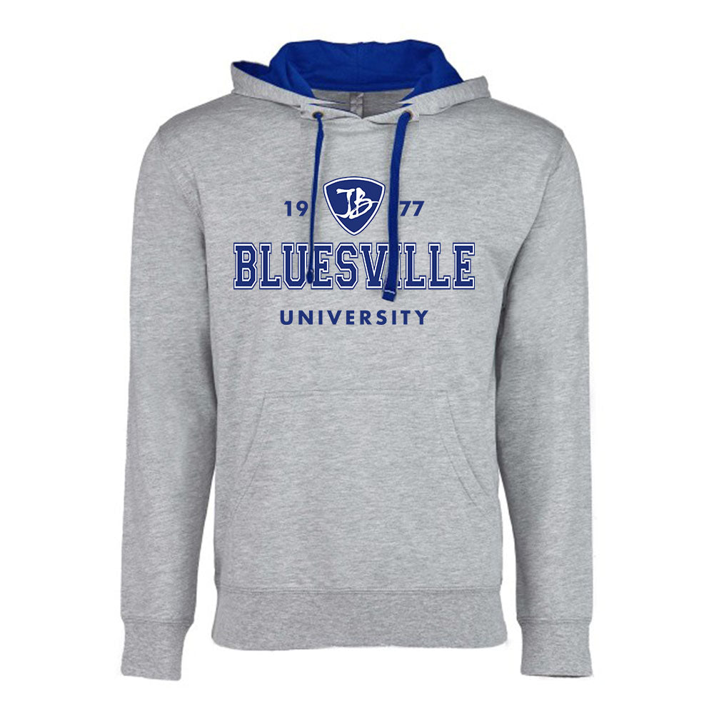 Bluesville University Logo Hooded Pullover (Unisex) - Heather Grey/Royal