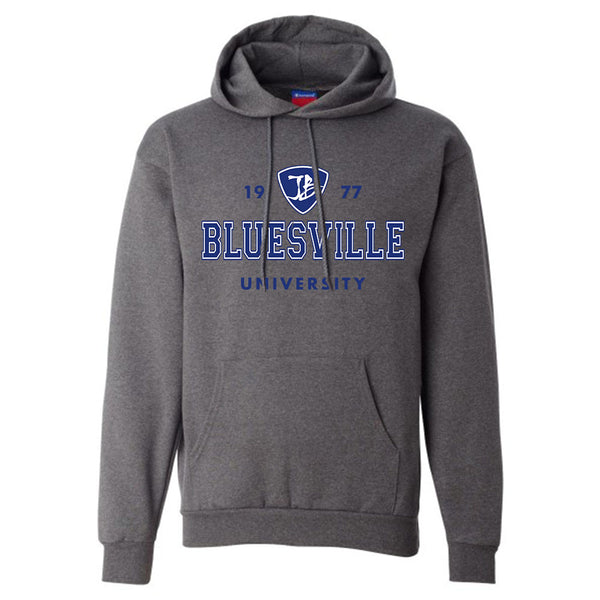 Bluesville University Logo Champion Hooded Sweatshirt (Men) - Charcoal Heather