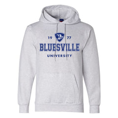 Bluesville University Logo Champion Hooded Sweatshirt (Men) - Silver Grey