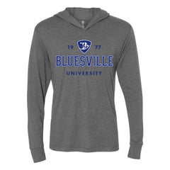 Bluesville University Logo Long Sleeve & Hoodie (Unisex) - Premium Heather Grey