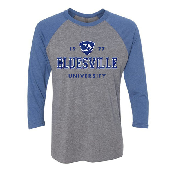 Bluesville University Logo 3/4 Sleeve T-Shirt (Unisex) - Premium Heather Grey/Vintage Royal