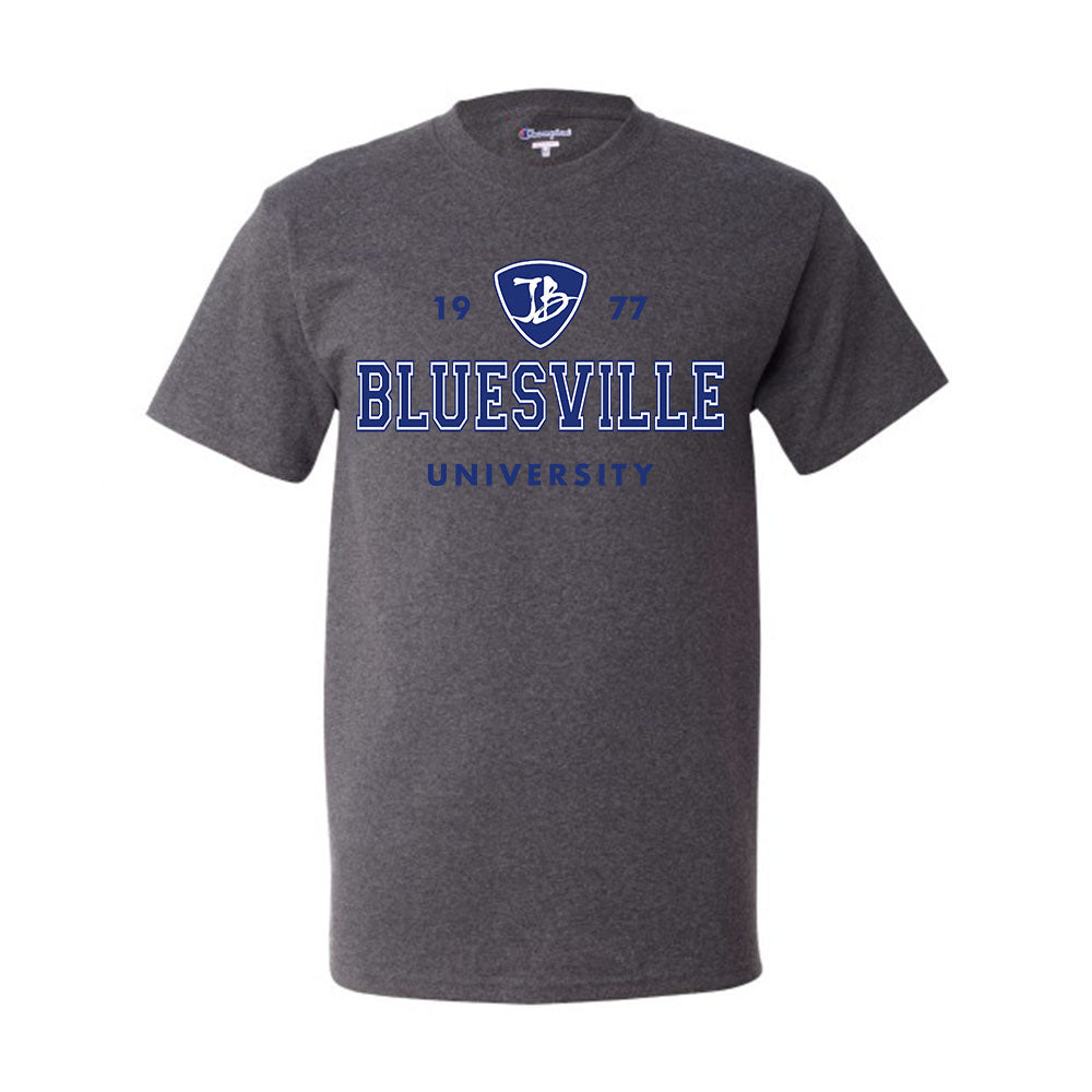 Bluesville University Logo Champion T-Shirt (Men) - Charcoal Heather