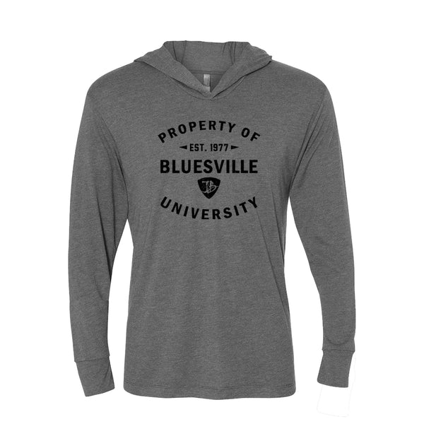 Property of Bluesville University Long Sleeve & Hoodie (Unisex) - Premium Heather Grey
