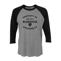 Property of Bluesville University 3/4 Sleeve T-Shirt (Unisex) - Vintage Black/Heather Grey