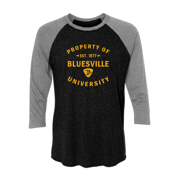 Property of Bluesville University 3/4 Sleeve T-Shirt (Unisex) - Heather Grey/Vintage Black
