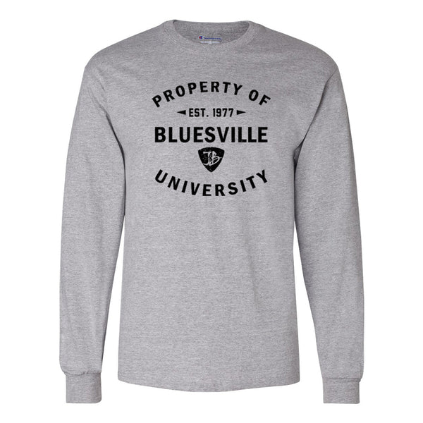 Property of Bluesville University Champion Long Sleeve (Men) - Light Steel