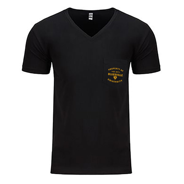 Property of Bluesville University V-Neck Pocket T-Shirt (Men) - Black