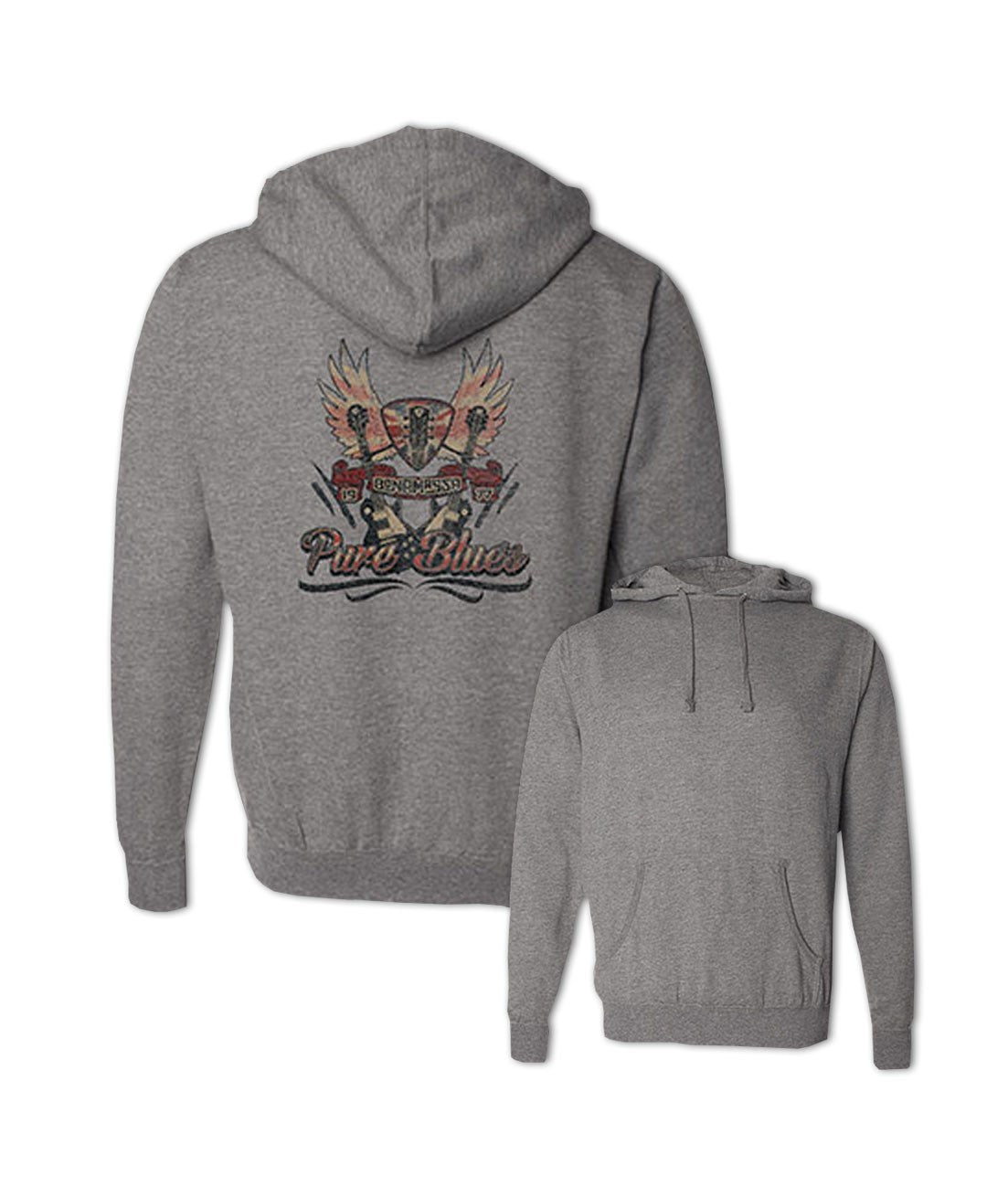 Pure Blues Pullover Hoodie (Unisex) - Gunmetal Heather