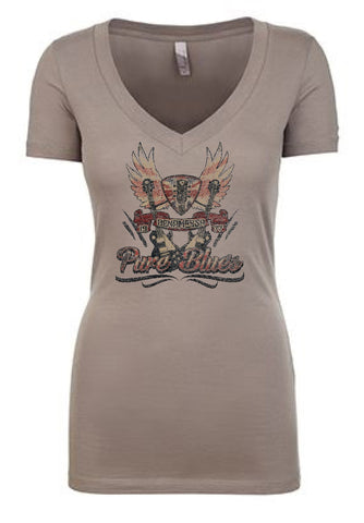 Pure Blues Deep V-Neck (Women) - Warm Grey