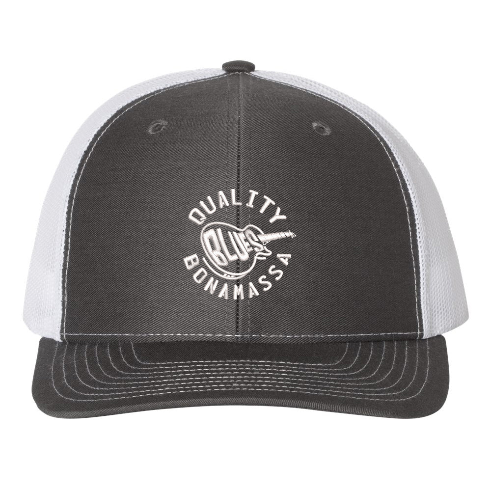 Quality Blues Snapback Trucker Hat - Charcoal/White