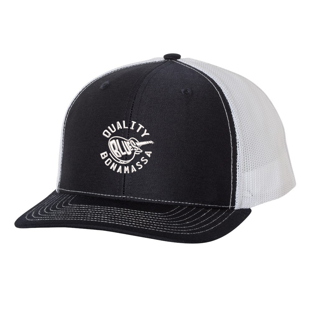 Quality Blues Snapback Trucker Hat - Navy/White
