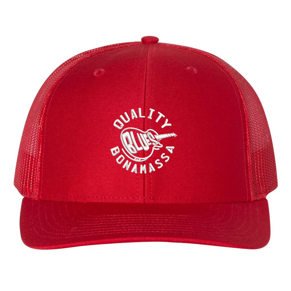 Quality Blues Snapback Trucker Hat - Red/Red