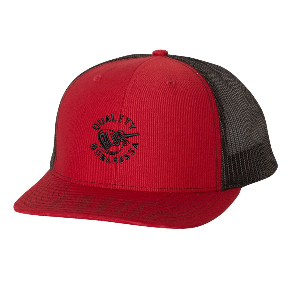 Quality Blues Snapback Trucker Hat - Red/Black