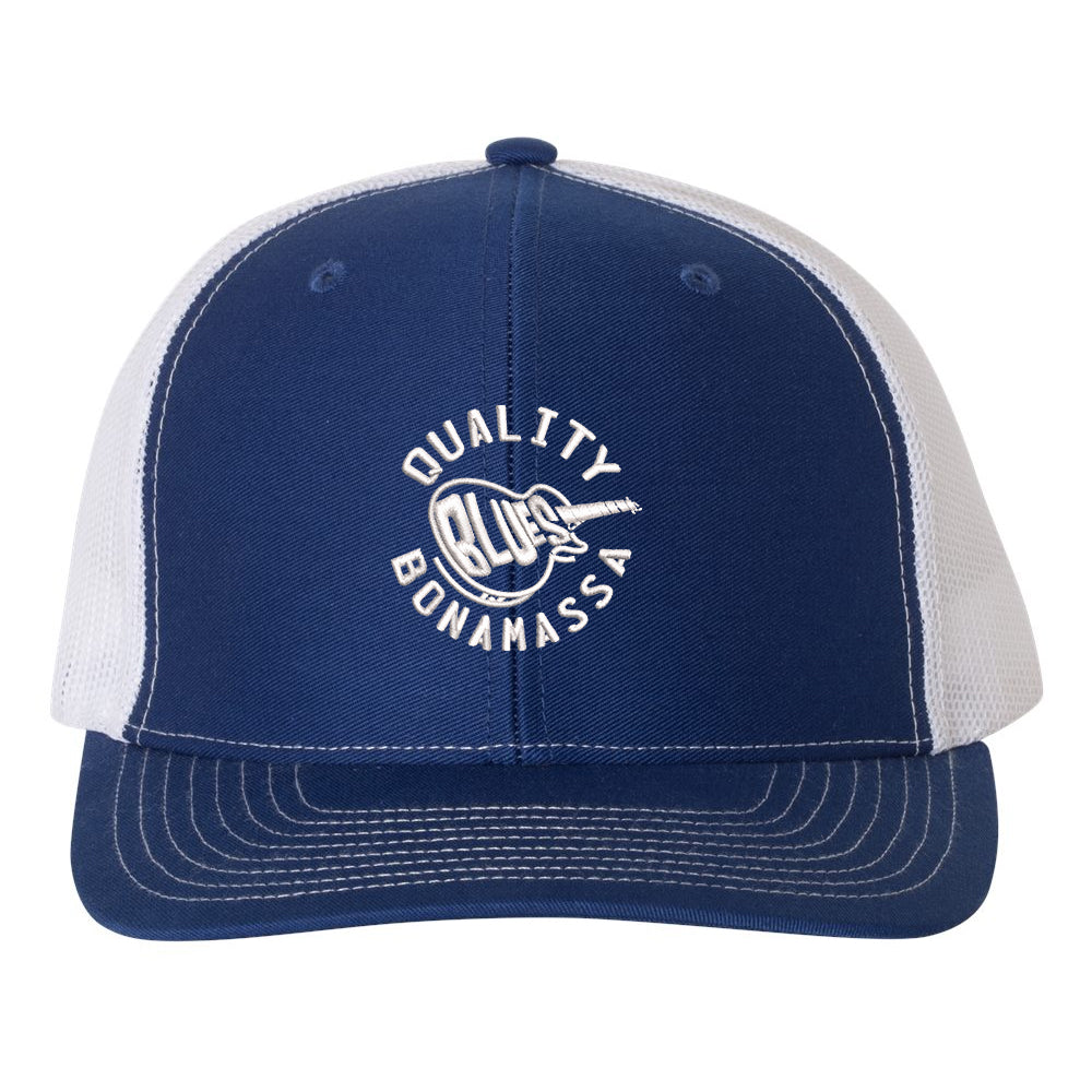 Quality Blues Snapback Trucker Hat - Royal/White