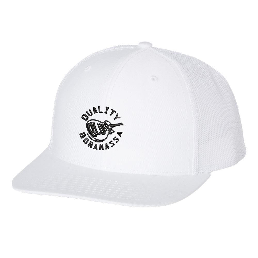 Quality Blues Snapback Trucker Hat - White/White
