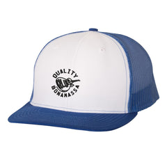 Quality Blues Snapback Trucker Hat - White/Royal