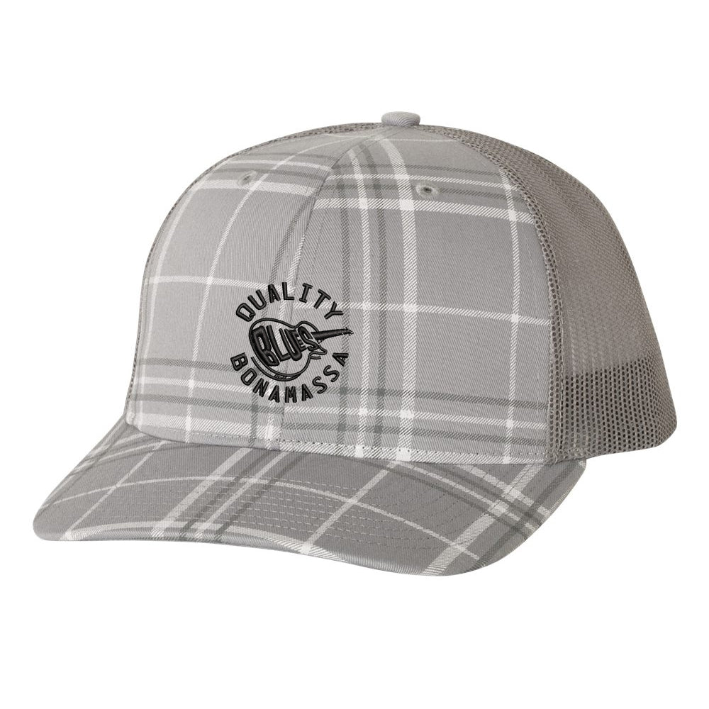 Quality Blues Trucker Hat - Plaid/Grey