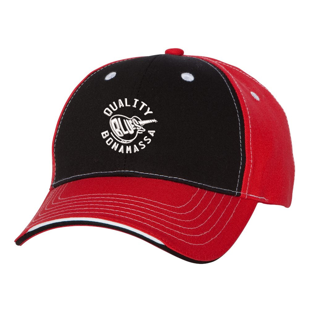 Quality Blues Tri-Color Hat - Black/Red