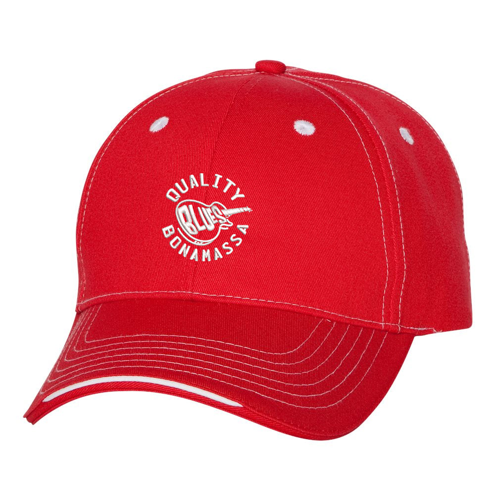 Quality Blues Tri-Color Hat - Red